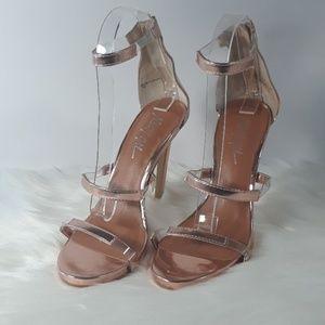 Nasty Gal Copper Metallic High Heel Sandals